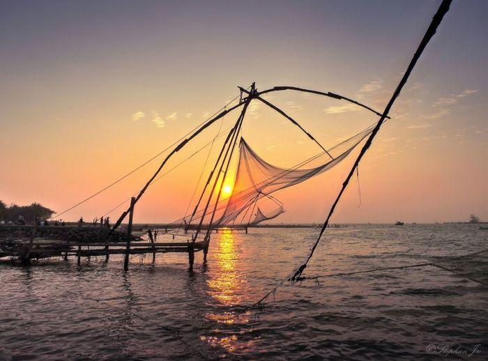Kerala Scenery Chinanet India Sunset Nikon Sea Fishing Evening Sky Sky And Clouds