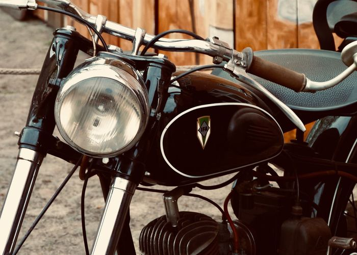 Classic Motorcycle Motorcycle IFA Focus On Foreground Mode Of Transportation Land Vehicle Headlight Transportation Close-up Metal Seat Retro Styled Tire Wheel Stationary Lighting Equipment Handlebar Outdoors Bicycle Absence Classic Vintage Black Old