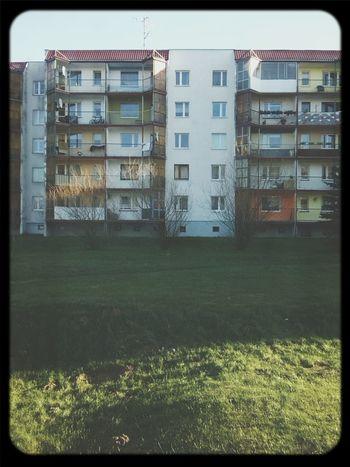 Apartment Buildings Atumn Sky Hello World