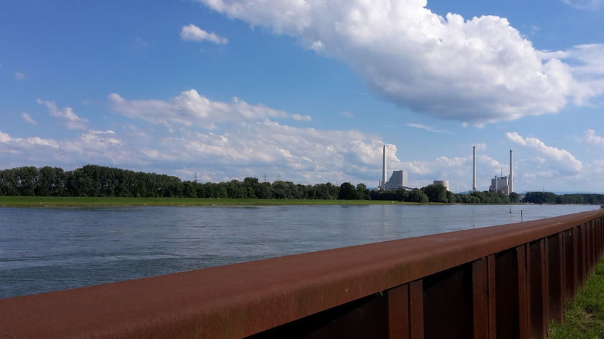 Business Finance And Industry Cloud - Sky Tree Water Day Outdoors No People Rheinufer Karlsruhe Kraftwerk Power Station Riverside Damm Dike Metal Structure Lines River Rheinaue