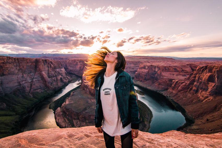 Ashley. Golden Hour Grand Canyon Horseshoe Bend Landscape Nature Portrait Portrait Of A Friend Portrait Of A Woman Sunset