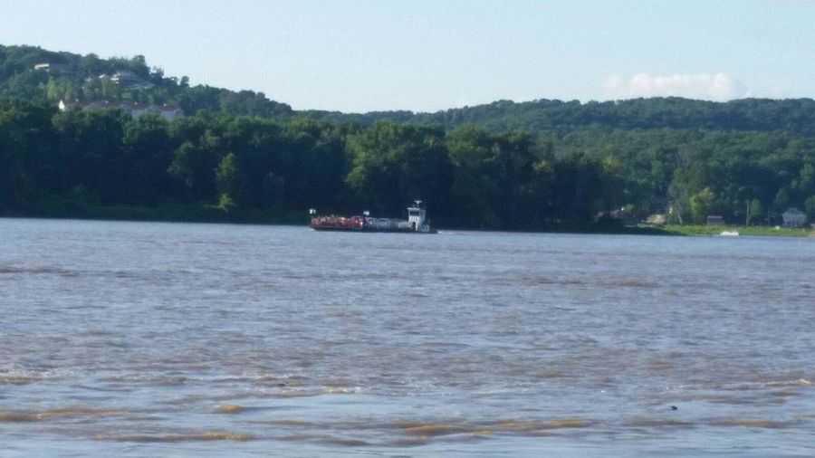Water Water And Sky View Land And Water Mississippi River Mississippi  River River View Scenery Sky And Water Landscape Land Land And Sky Scenic Landscapes Taking Photos Ferryboat Ferry Ferry Crossing Ferry Boat