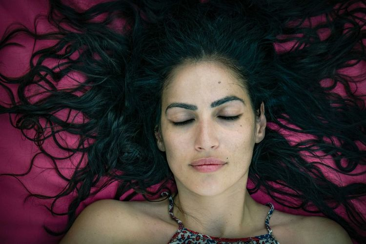 Human Face Only Women Front View Portrait Eyes Closed  Headshot Make-up Beautiful Woman Beautiful Skin Outdoor Photography Portraits Of EyeEm Bulgarian Girl Black Hair Beauty Close-up Pink Color Human Body Part Sleepingbeauty Long Hair Adult Eyebrows Lips Lovely