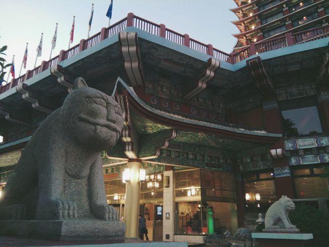 Statue Sculpture Illuminated Dragon City Architecture Sky Building Exterior Built Structure