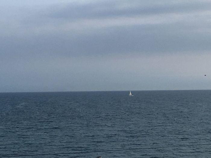 遠くにヨット