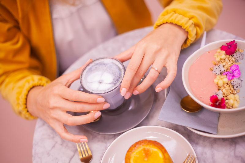 Afternoon Tea Breakfast Cafe Cake Coffe Edibleflowers Flower Food Food And Drink Freshness Hand Holding Plate Sweet Food Table Women Yellow 50 Ways Of Seeing: Gratitude