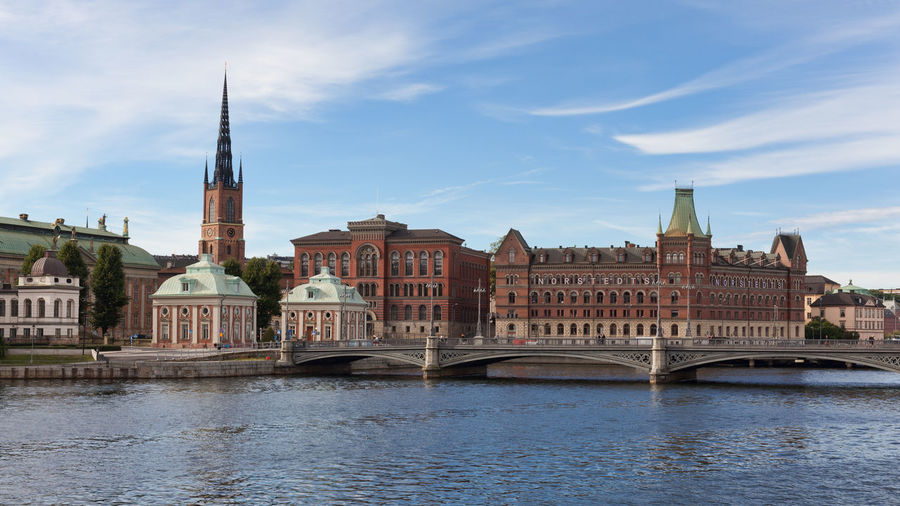 View of Stockholm Riddarholmen Island and Vasa Bridge during day time, Stockholm, Sweden. Bridge - Man Made Structure Capital Cities  Church City Europe Famous Place Nordic Countries Riddarholmen Scandinavia Sea Stockholm Stockholm, Sweden Sweden Travel Destinations Waterfront