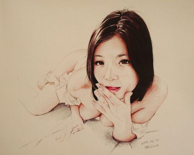 鶴田かな Ballpoint Draw Drawing Paint Painting Esedy