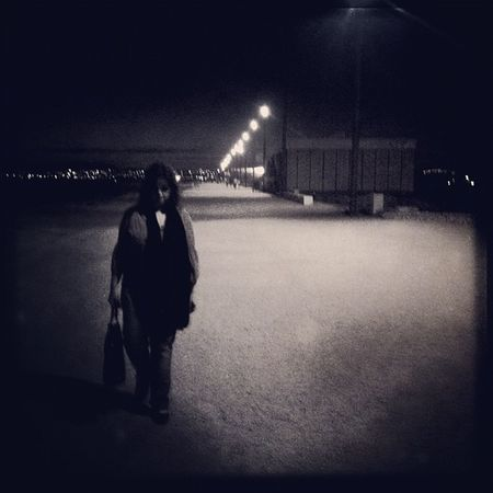 Beach, by night.