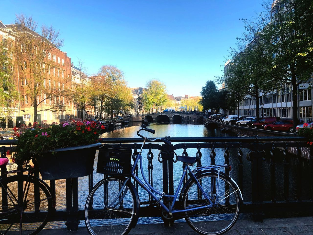 plant, tree, water, nature, transportation, mode of transportation, bicycle, architecture, land vehicle, sky, day, no people, built structure, canal, building exterior, railing, city, autumn, outdoors, change