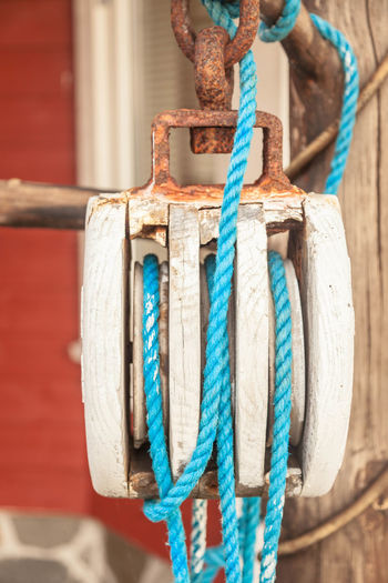 Close-up of blue rope in pulley