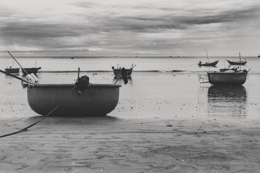 Beach Beachphotography Beauty In Nature Boat Cloud - Sky Day Horizon Over Water Longtail Boat Mode Of Transport Moored Muine Nature Nautical Vessel No People Outdoors Scenics Sea Sky Transportation Vietnam Water