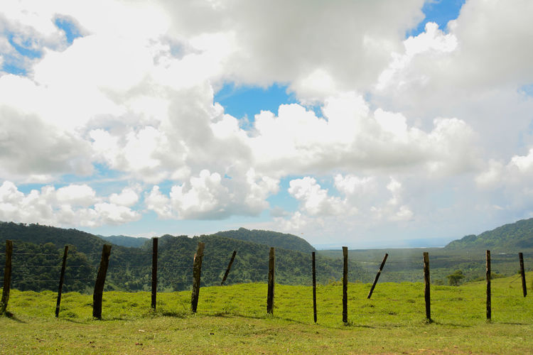 Panoramic view of wooden post on field against sky