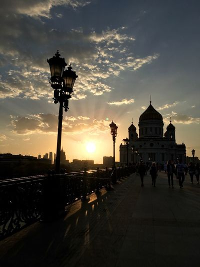 Architecture Building Exterior Built Structure Cathedral Of Christ The Savior City Day Large Group Of People Moscow Outdoors Place Of Worship Religion Russia Russian Church Silhouette Sky Spirituality Sunset Travel Destinations