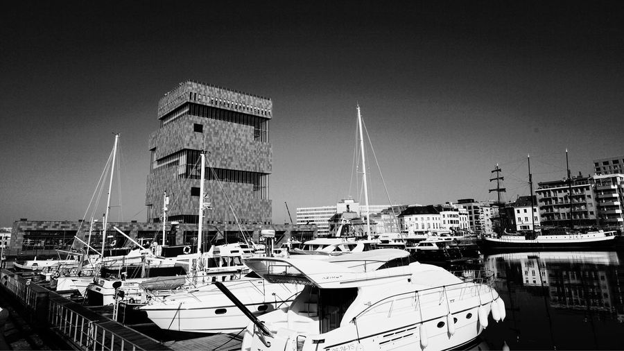 Antwerpen EyeEm Best Shots - Black + White Blackandwhite Port Yachts Architecture Built Structure Building Exterior Sky Nature Nautical Vessel Water Mode Of Transportation Technology Transportation Travel Communication Tower Building City No People Outdoors Clear Sky Day