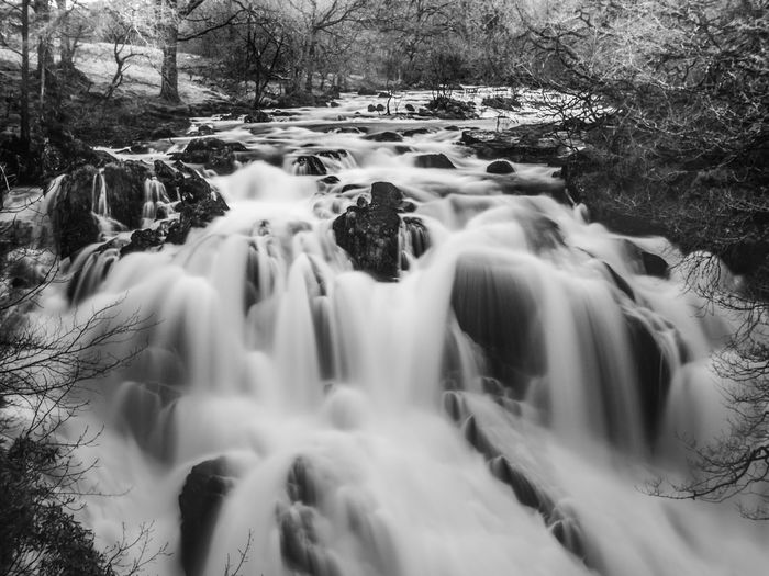 Swallow Falls, Betws y Coed, North Wales. Abundance Betws Y Coed Blackandwhite Close Up Cold Cold Temperature Covered Covering Day Frozen Full Frame Looking Monochrome No People Power In Nature Season  Side By Side Speed Waterfall White White Color Winter