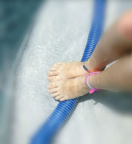 One Person Feet Selfie Feet In Water Close-up Childhood Swimming Pool Check This Out Chid Feet In Pool Blue Child Feet In Pool. Child Feet In Water. Blue,.