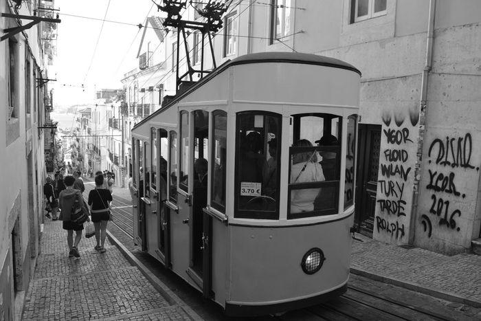Built Structure Architecture Building Exterior Public Transportation City Day People Lifestyles Real People Full Length Lisboa Portugal Lisbon Rua Da Bica Tram Electrico De Lisboa Lisbon Tram Street Photography Bw Bw Streetphotography