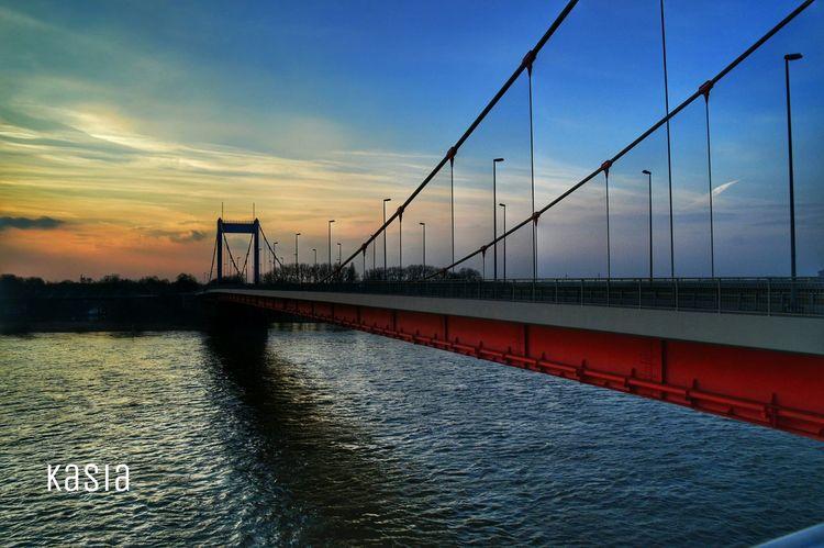 Germany Duisburg Bridge Rhein River Ruhrort Sunset