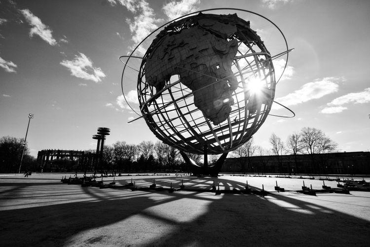 Unisphere Sun Outdoors Sky No People NYC The City Light Unisphere Queens New York City New York Black & White Blackandwhite Black And White Sun Glare Welcome To Black