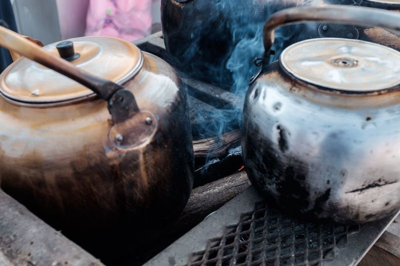 Making Tea Detail Chrome Day Out Kettle Hot Drink Smoke Tea EyeEm Selects Indoors  No People Close-up Day