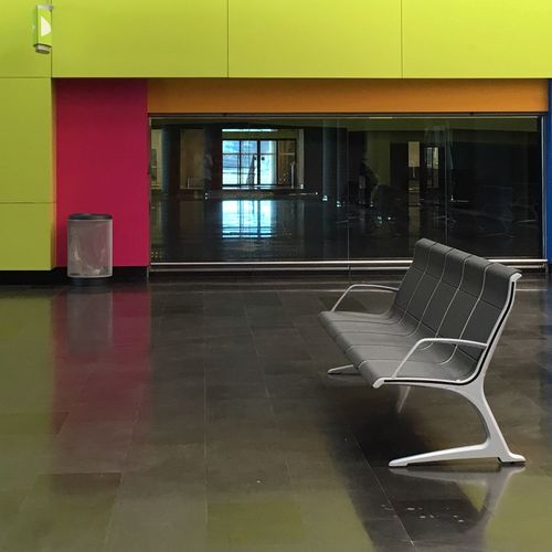 My Hopper Moment Tiled Floor Indoors  Chair Empty No People Architecture Day Shadows & Lights Light And Shadow Window View From My Point Of View Mallorcaphotographer Palma De Mallorca Architecture_collection Architecture Chairs Empty Places Empty Chair Mallorca Airport Palma Airport PMI
