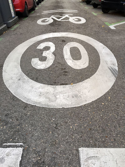 Street with limited speed if bicycles circulate Communication Sign Road High Angle View Day City Street Transportation Marking Symbol Road Marking Guidance No People Number Outdoors Geometric Shape Road Sign Direction Speed Bike Bycicles Traffic Limited