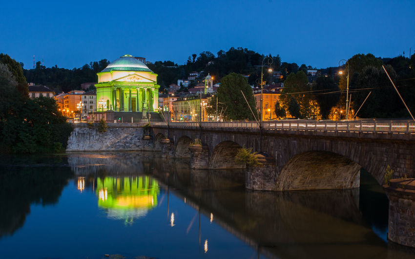 Gran Madre Bridge Turin Architecture Cappuccini Hill City Gran Madre Bridge, Illuminated Night Po River Turin River Flowing Turin Italy