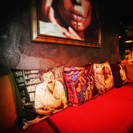 "Had a chance to photograph the 1 year aniversarry of this great local bar ""El Patron"" viva Escobar!;)😎 Interior Bar Nightlife Pillows Club Escobar Design Interior Design Interiors Night"