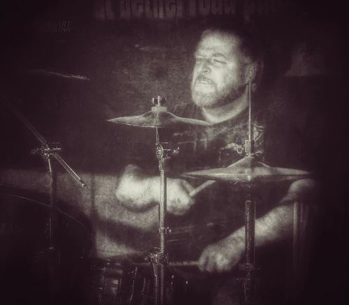 My X-Cape. Me In Action Drums Levity In Action Bethel Road Pub Photo by Theo Everhart. My edit.