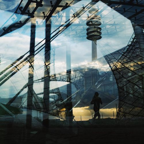 Running Olympic Streetphotography Double Exposure Munich Olympic Olympus Sebastianriegerphotos Reflection Building Silhouette Glass - Material Outdoors Lifestyles Tower City Tall - High Day Travel Destinations Tourism Travel Nature