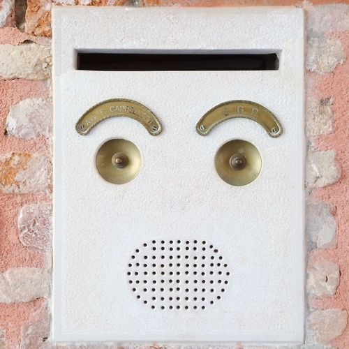 Doorbell face. Venice, Italy. Photo by Tom Bland. Close-up No People Faces Faces Of EyeEm Face IPhone Travel Photography IPhoneography Venice Venice, Italy Doorbell Doorbells Buzzer Travel Detail Details Venezia Exterior Italy Italia Found Object Funny Expression Expressions