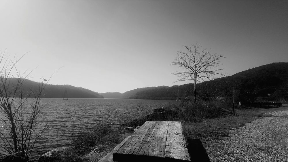 Black And White Friday Water Nature Beauty In Nature Lake Outdoors Tranquility Day Sky Mountain Scenics No People Blue Clear Sky Rural Scene Tree