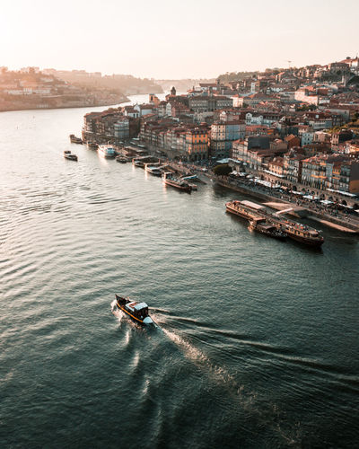 Porto Portugal Riverside River Evening Sky Sunset Boats Building Exterior Transportation Architecture Water Built Structure High Angle View Nature Outdoors Sky