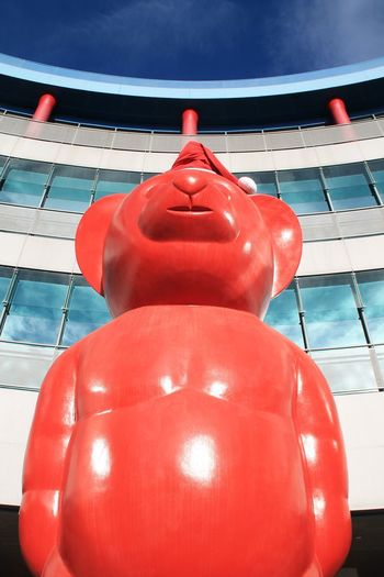 Arts Culture And Entertainment Art Enjoying Life Taking Photos Check This Out Hanging Out Blue Sky Windows Red Color Building Exterior Built Structure Red Red Bear Statue Low Angle View Red No People Close-up Indoors  Built Structure Day Architecture