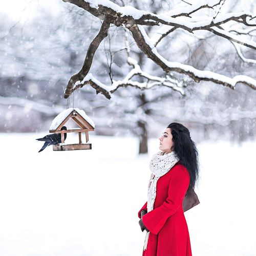 Side view of woman looking at pigeon perching on birdhouse during winter