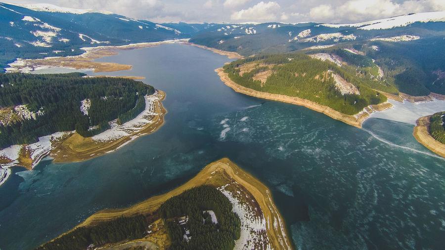 High angle view of lake and mountain