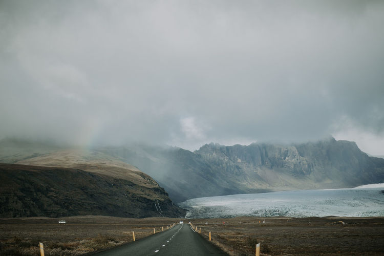 Iceland Beauty In Nature Cloud - Sky Glacier Landscape Mountain Nature Power In Nature Road Scenics Sky The Way Forward Tranquility Perspectives On Nature