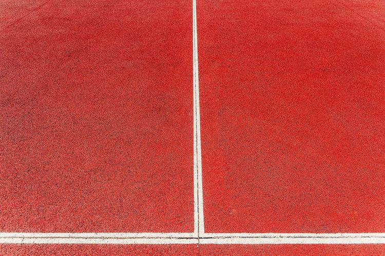 High angle view of white basketball court