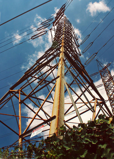 Built Structure Cloud - Sky Diagonal Lines Diagonals Electrical Towers Infrastructure Low Angle View No People Outdoors Sky Technology