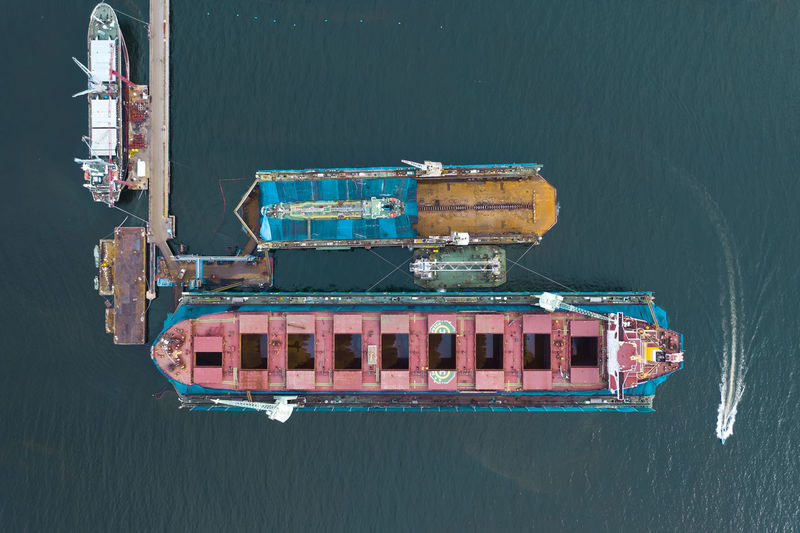 High angle view of ship moored in sea
