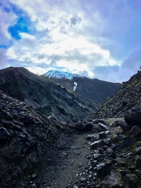 Mountain Tranquility Beauty In Nature Scenics Nature Outdoors Sky Landscape Rocks Boulder Path Snowcapped Mountain Snowcapped Iceland Landmannalaugar Mothernature