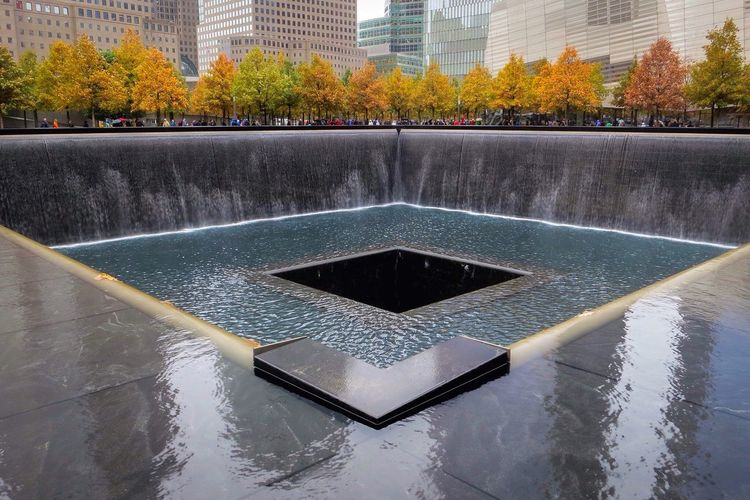 We will never forget. Beautiful fall, but rainy, day at the memorial. NYC New York Architecture We Remember