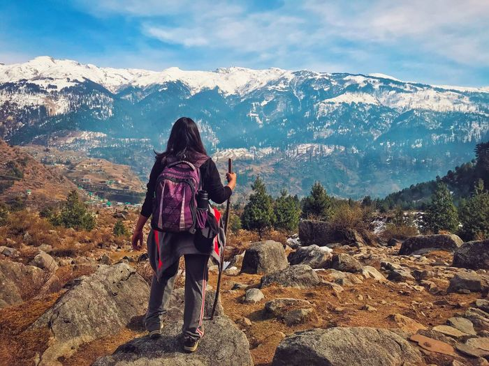 Mountain Real People Mountain Range Rear View Leisure Activity Lifestyles One Person Nature Scenics Hiking Sky