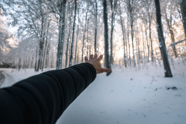 Human hand on snow covered land