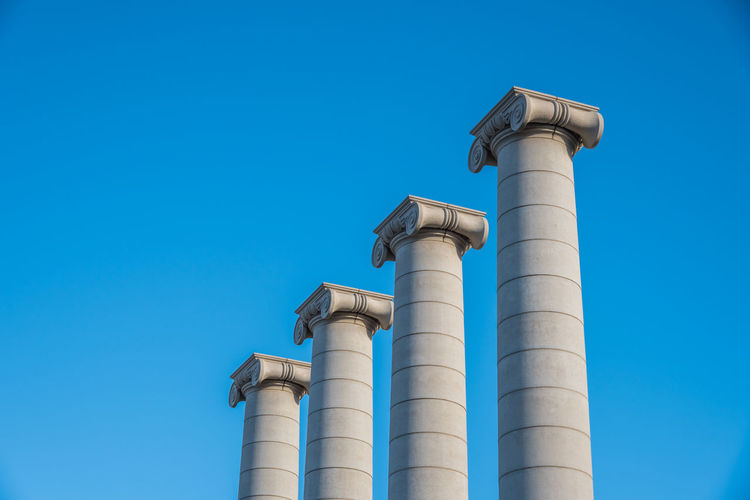 Low angle view of monuments against sky