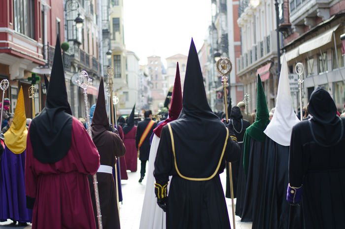 Hooded penitents in a procession during the Holy week in Spain Barcelona Catholic Church Easter Easter Holidays Granada Holy Week Madrid Malaga SPAIN Seville Spain♥ Spanish Travel Travelling City Culture Destinations Holy Hood Large Group Of People Religion Religious  Spanish Culture Street