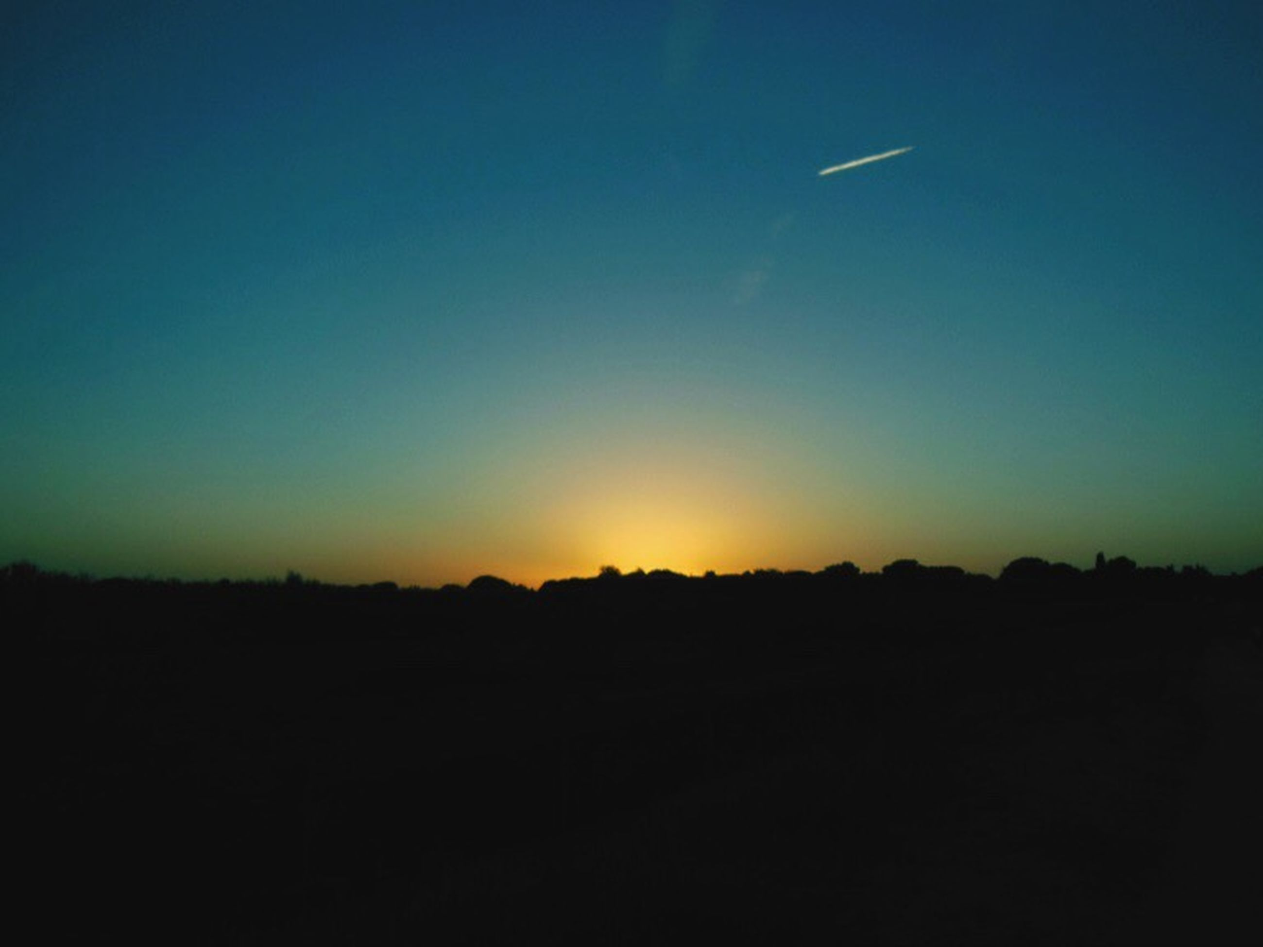 silhouette, copy space, sunset, clear sky, scenics, tranquil scene, tranquility, beauty in nature, blue, landscape, nature, idyllic, dusk, orange color, dark, outline, outdoors, sky, no people, horizon over land