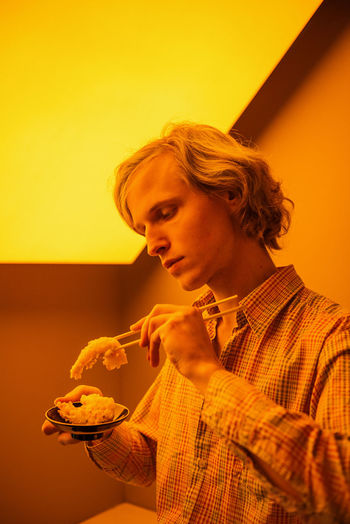 Spice Yellow Light Asian Food Chopsticks Long Hair Blonde Hair Man Male Model Food Shrimp Profile Portrait Boy Linas Was Here