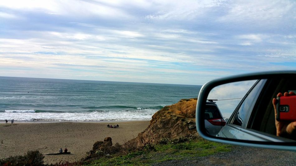 Smartphone Red Reflection Mirror Beach People Bluff Horizon Over Water Scenics Water Ocean View Car Sea Nature Copy Space Backgrounds Artistic Hwy 1 Bodega Bay Travel Destinations Vacations Tranquil Scene Overlook Sheen Be. Ready.